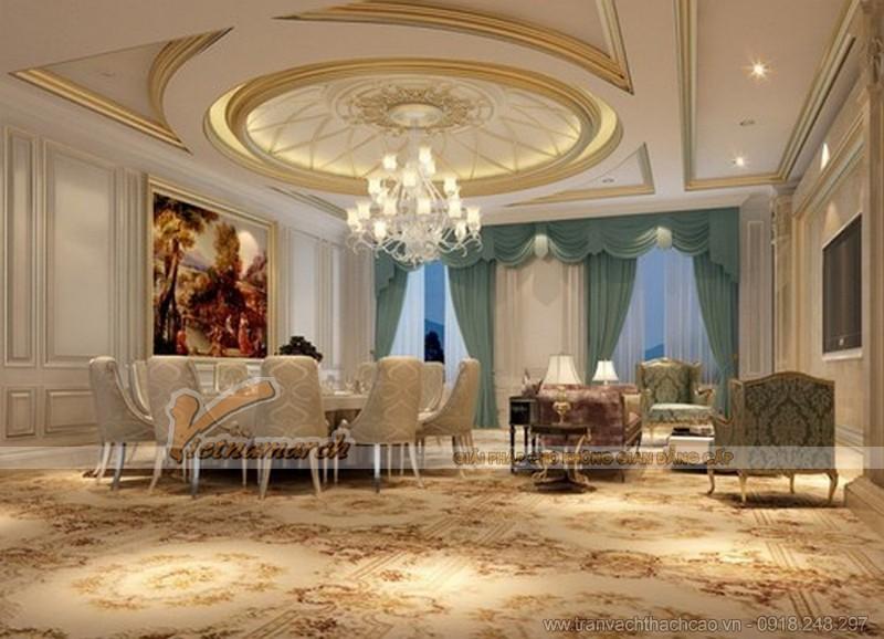 mẫu trần thạch cao cổ điển dành cho phòng khách đẹp nhất