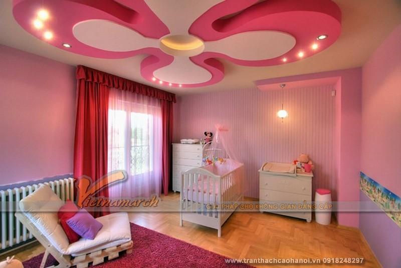 Mẫu trần thạch cao phòng ngủ bé gái