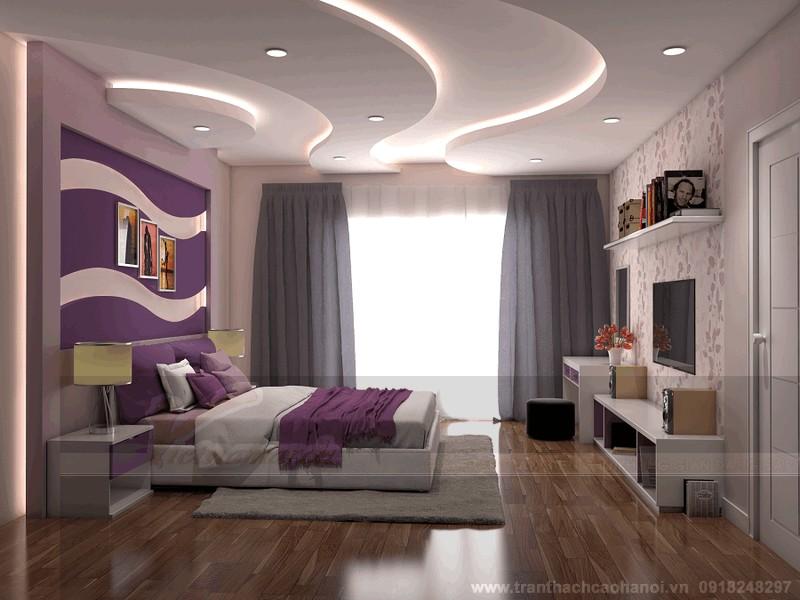 Tạo hình lượn sóng trên hệ trần thạch cao phòng ngủ vô cùng ấn tượng