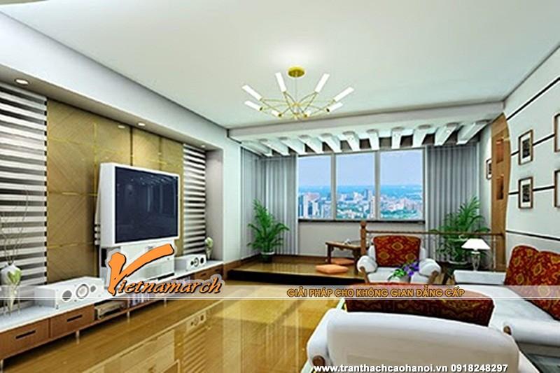 Mẫu trần thạch cao phẳng cho phòng khách chung cư