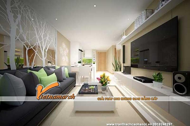 Mẫu trần thạch cao phẳng cho phòng khách nhỏ