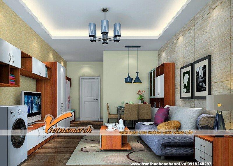Mẫu trần thạch cao phòng khách nhỏ