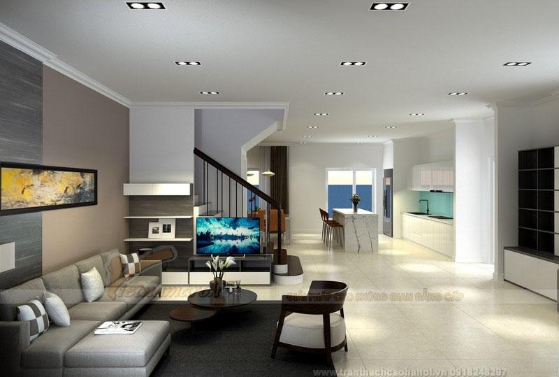 Hệ trần phẳng cho phòng khách đơn giản mà đẹp hiện đại
