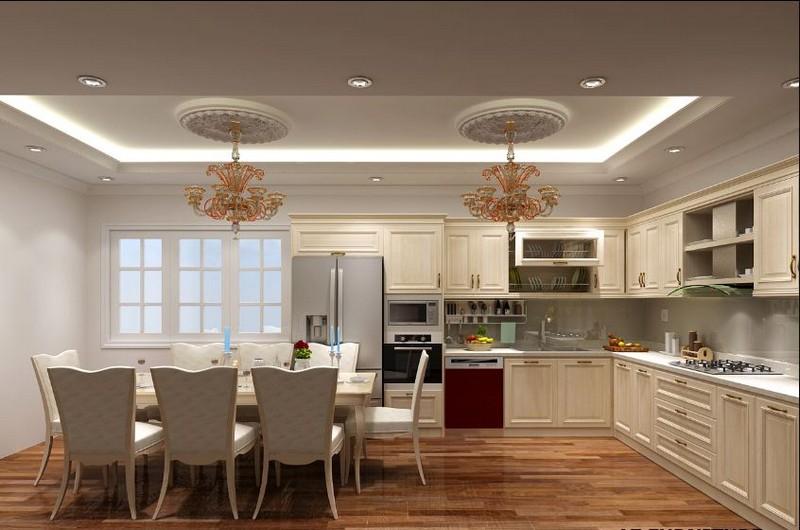 Mẫu trần thạch cao phòng bếp và phòng ăn hiện đại