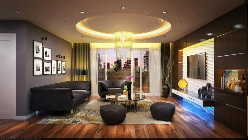 Mẫu trần thạch cao phòng khách chung cư