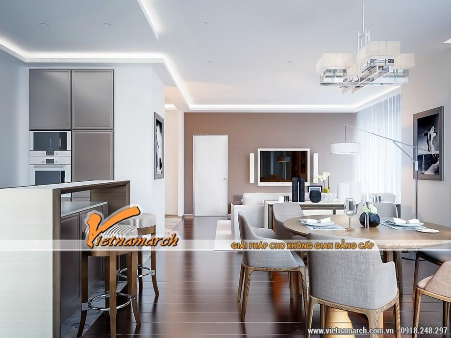 Mẫu trần thạch cao phòng khách liền phòng bếp