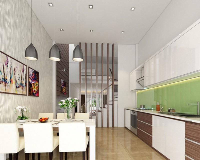 Mẫu trần thạch cao phòng khách liền bếp