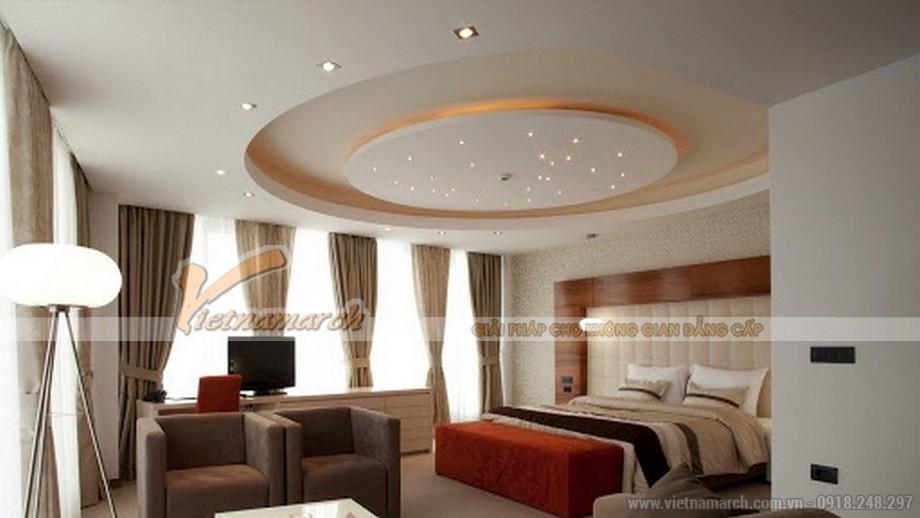 Trần thạch cao hình elip cho phòng ngủ