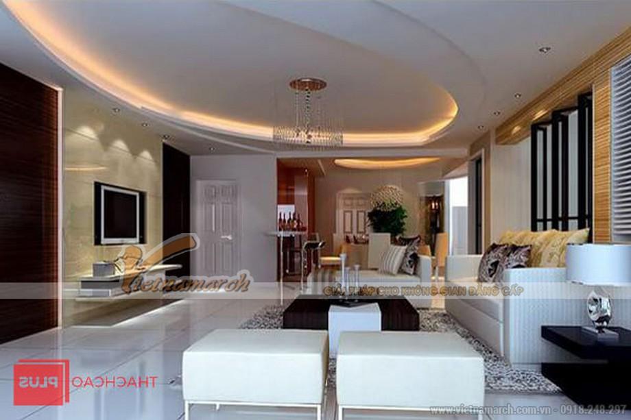Mẫu trần thạch cao hình elip cho phòng khách
